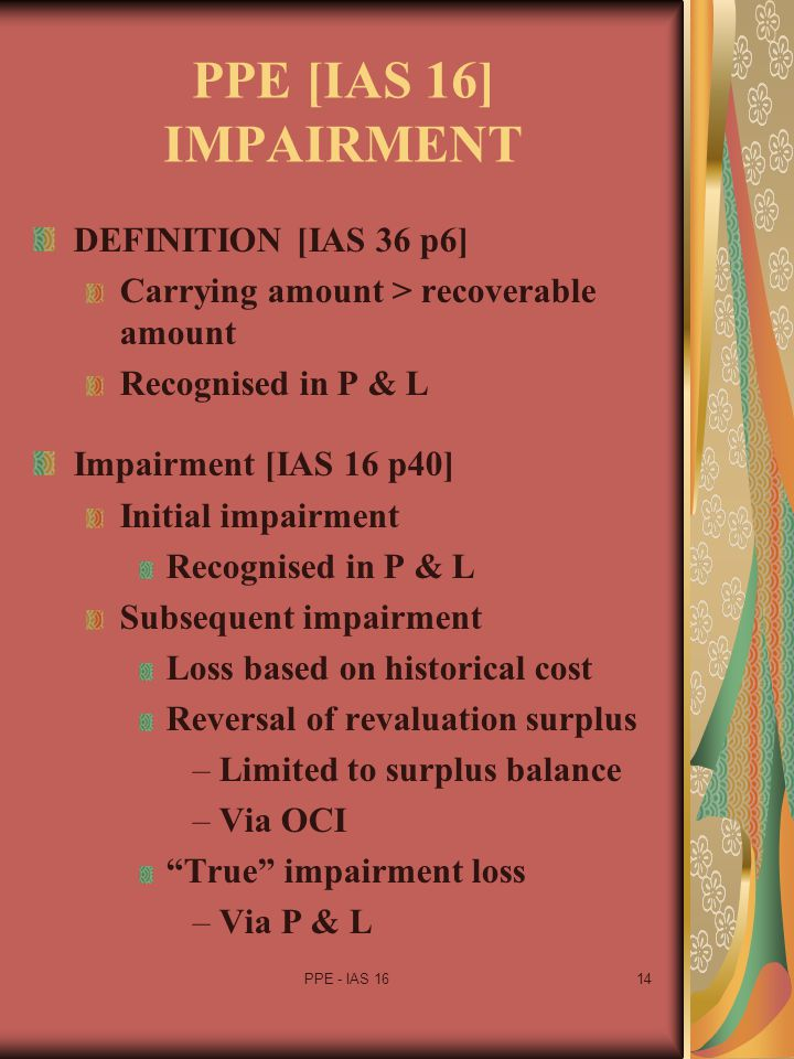 PPE [IAS 16] IMPAIRMENT DEFINITION [IAS 36 p6]